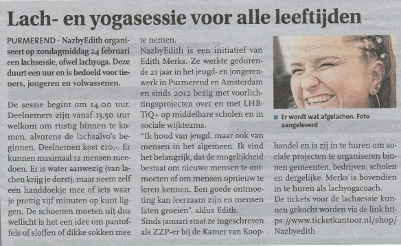 lachyogasessie feb 19 purmerends nieuwsblad
